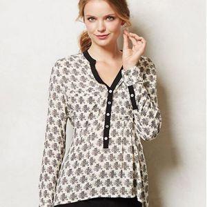 Anthropologie VanessaVirginia Honore Owl Blouse 4P